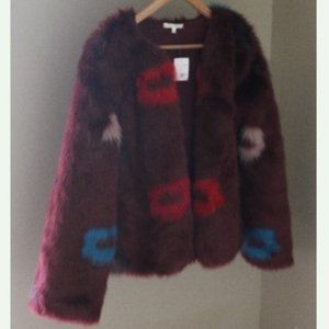 Willow & Clay Flower Faux Fur Jacket Boxy Mod